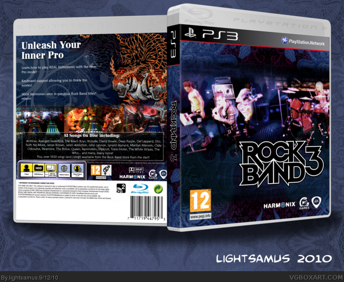Rock Band 3 box art cover