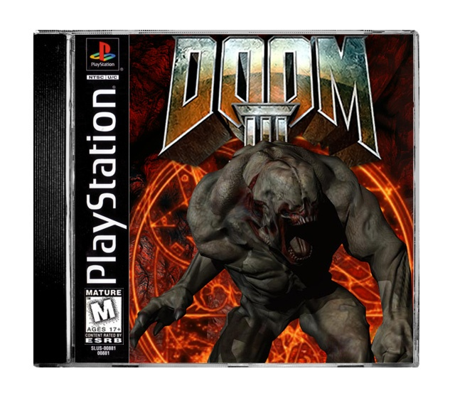 DOOM III FOR THE PS1 box cover