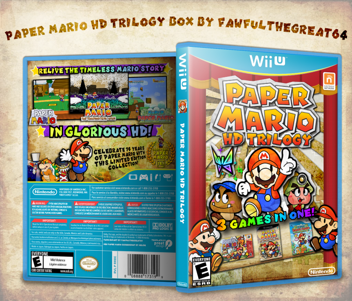 Paper Mario HD Trilogy box art cover